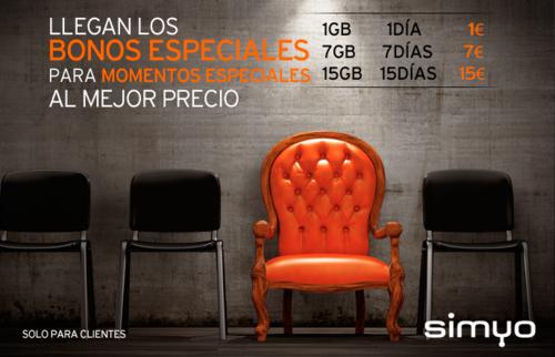 Simyo estrena bonos especiales de datos para momentos puntuales a 1 euro el giga