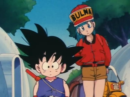 Goku And Bulma Looking In Preists Door