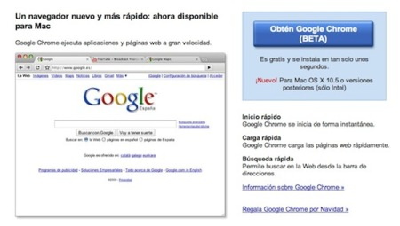 La primera beta de Google Chrome para Mac ya está oficialmente disponible