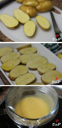 Elaboración de las patatas con salmón y salsa holandesa