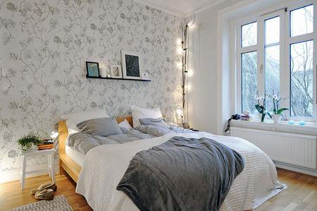 Sencillo apartamento de 56 metros en suecia - Dormitorios empapelados ...