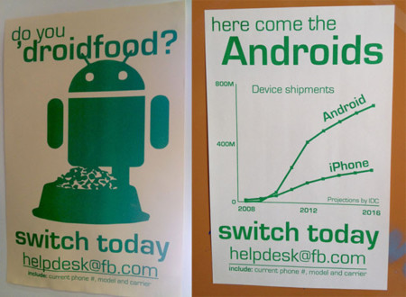 Carteles de Android en Facebook