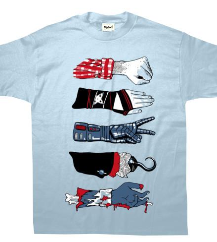 Camiseta piedra, papel, tijeras... ¿garfio?