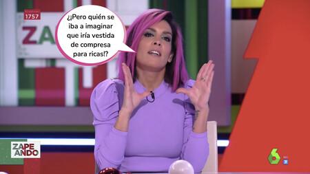 Lorena Castell, muy decepcionada con el vestido de la Pedroche, cumple su promesa y aparece en 'Zapeando' con el pelo rosa