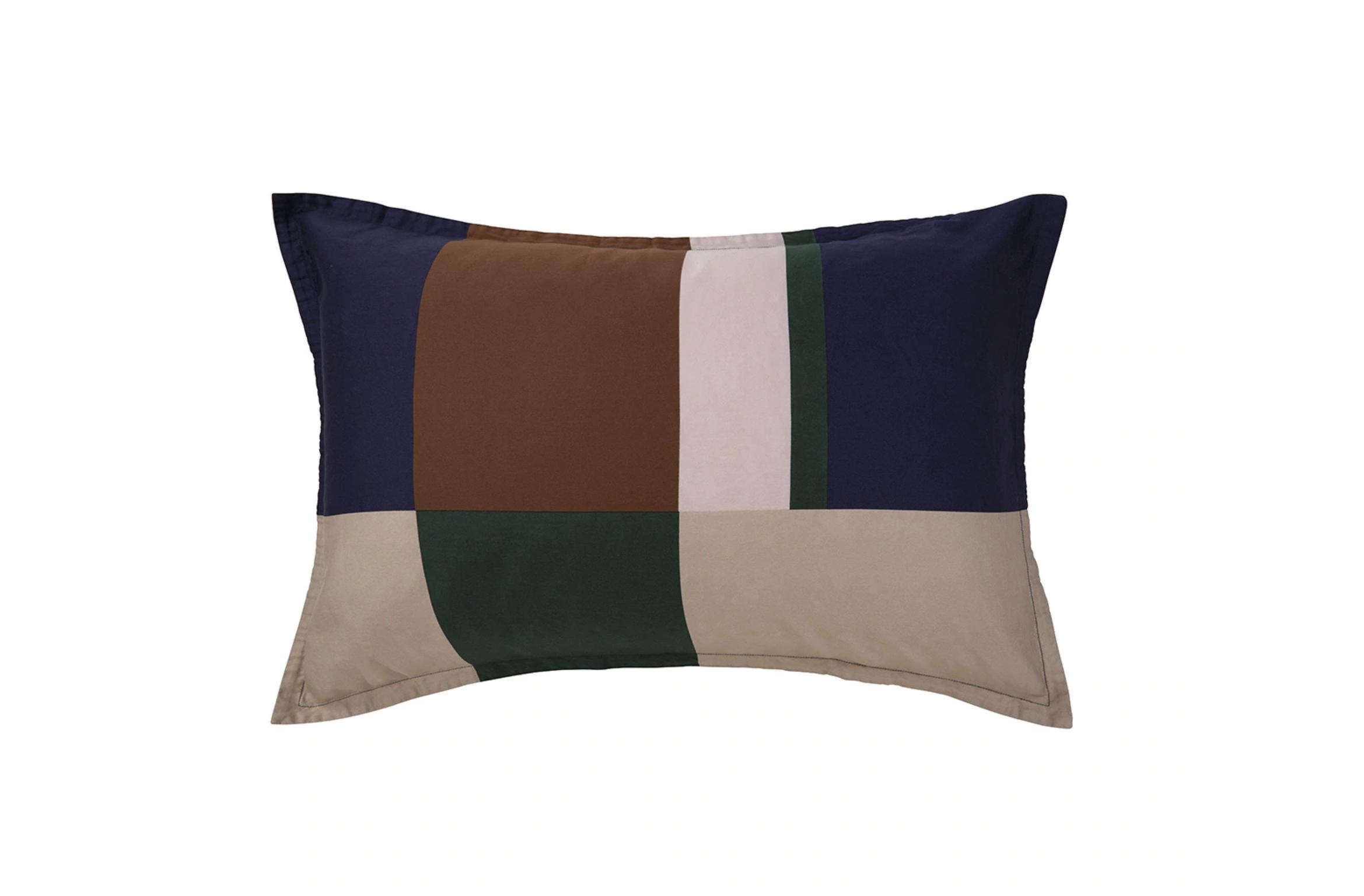 Funda de almohada de algodón orgánico satén Color Block Lacoste