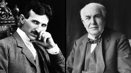 Tesla y Edison retratos