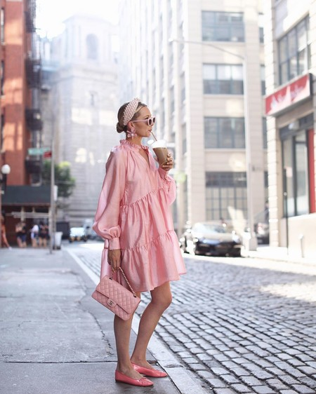 Combinar Vestido Rosa Zapato Bolso 09