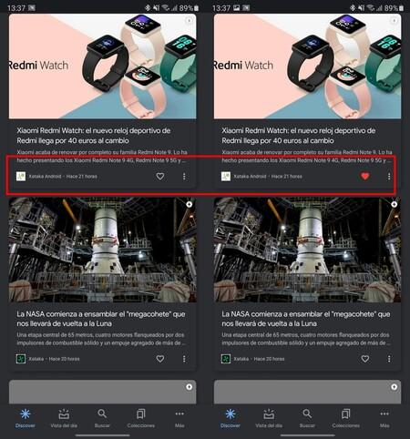 Google Discover Corazones
