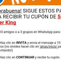 Nueva estafa a través de WhatsApp detectada: el falso cupón de 50 euros de Burger King