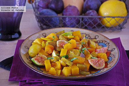 Calabaza especiada con berenjena, higos y miel. Receta