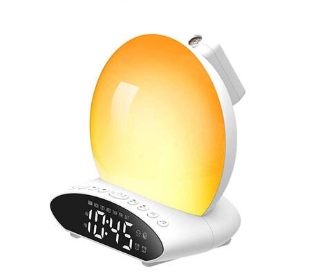 Wake Up Light Sunrise Reloj Despertador Proyeccion De Tiempo Reloj Digital Luz Nocturna Led Con Funcion De Luz Ambiental De Simulacion De Amanecer Y Atardecer