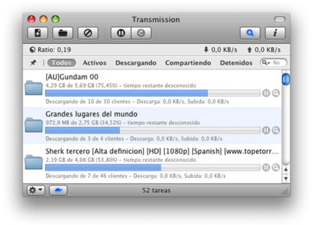 Transmission 1.3, con interfaz web