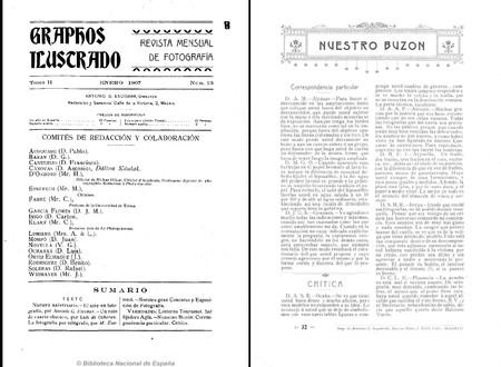 Portada Y Buzon Graphos Ilustrado Nº1 Tomo 2 1907
