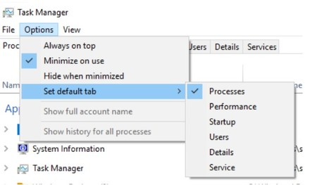 Task Manager Default Tab