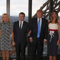 Melania Trump viste de manera patriótica en una cena privada con el matrimonio Macron