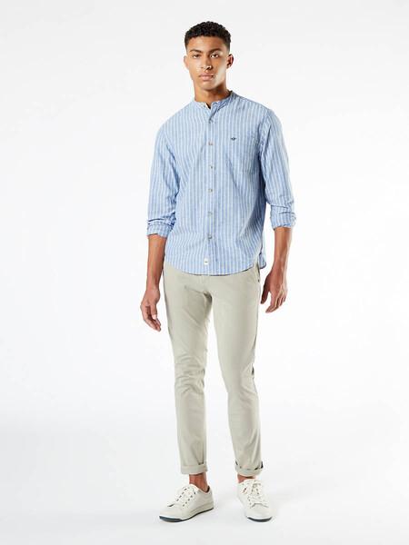 Men S Cottonized Hemp Band Collar Button Up Shirt Azul