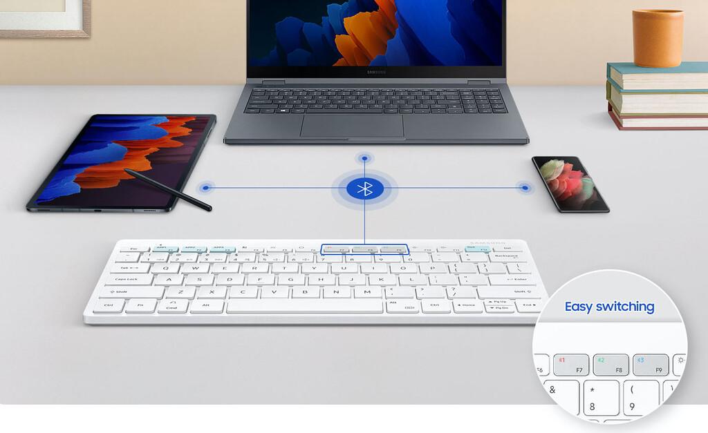 El nuevo teclado inalámbrico de Samsung permite conectar tres dispositivos al mismo tiempo: móvil, tablet y ordenador
