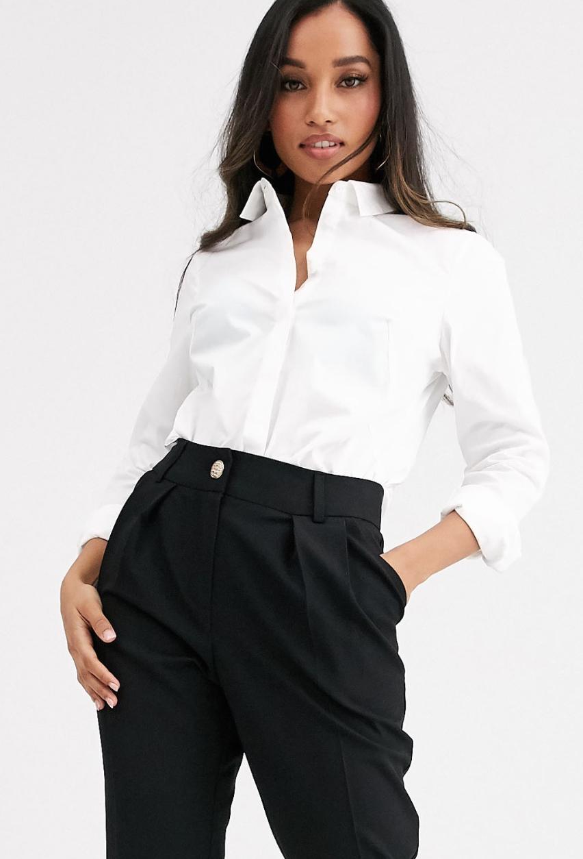 Camisa ajustada de manga larga de algodón elástico de ASOS DESIGN Petite