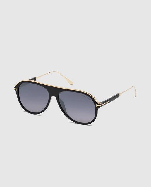 Gafas de sol de hombre Tom Ford inyectadas en negro con diseño retro