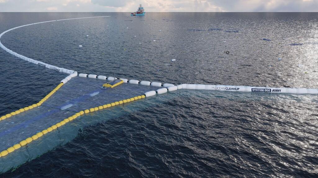 Así es la nueva y gigantesca red de 800 metros de Ocean Cleanup para capturar plásticos en el océano