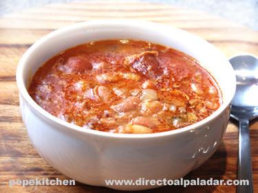 Potaje de alubias rojas con chorizo. Receta