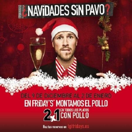 Promoción 2x1 Friday's Platos Pollo