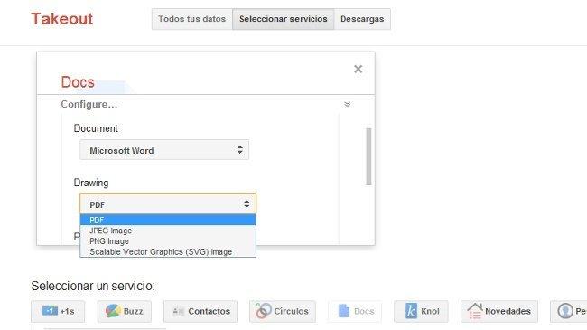 Descarga todos tus documentos de Google Docs desde Takeout