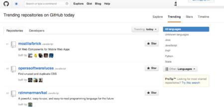Github como fuente de inspiración y de descubrimiento de tendencias en desarrollo de software