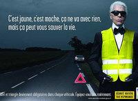 Karl Lagerfeld en la nueva campaña de seguridad vial francesa
