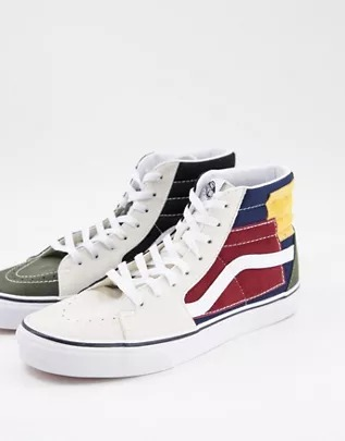 Zapatillas altas multicolores con diseño de patchwork UA SK8 de Vans