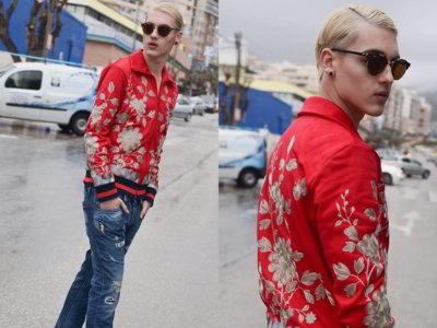 Con detalles orientales las bomber jackets satinadas conquistan el street style