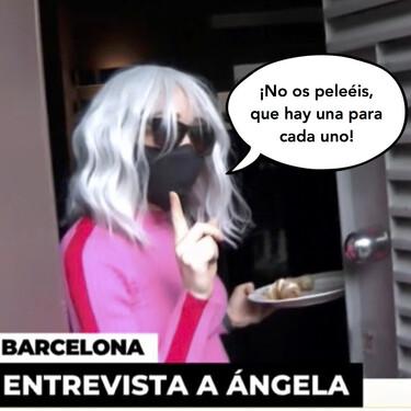 La mujer de Josep Maria Mainat, Angela Dobrowolski, da la cara y unos cruasanes a los medios con una nueva peluca