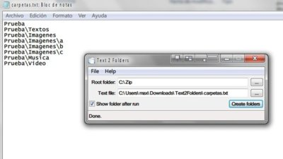 Crea carpetas en Windows a partir de un archivo de texto con Text 2 folder
