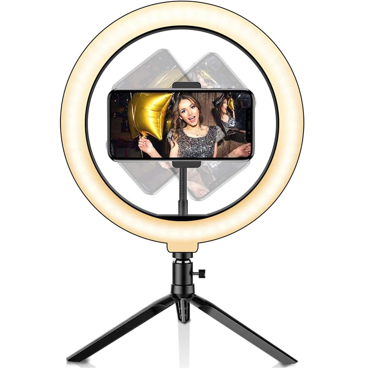 Aro de luz LED para selfie de 10,2 pulgadas, con trípode y control remoto Bluetooth, soporte para teléfono, 3 modos de luz y 10 niveles de brillo