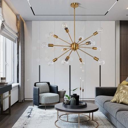 OYI Oro Moderno Sputnik Iluminación colgante Lámparas de araña Metal ligero con 12 luces E27 para sala de estar Dormitorio loft cafe studio (Sin bombilla) [Clase de eficiencia energética A]