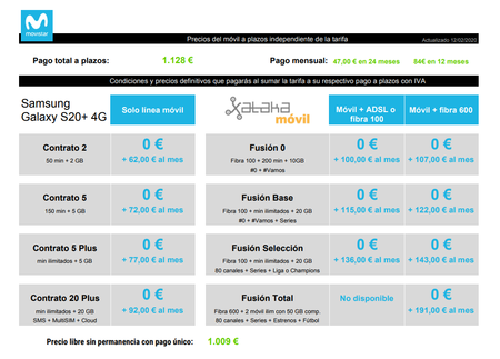 Precios Samsung Galaxy S20 Plus 4g De 128gb Con Tarifas Movistar