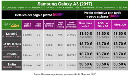 Precios Samsung Galaxy A3 2017 Con Tarifas Yoigo