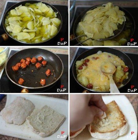 Cómo hacer una tosta de revuelto de patatas con chistorra