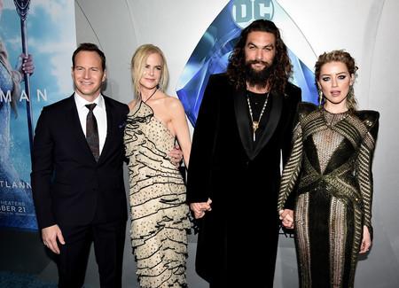 Patrick Wilson, Nicole Kidman, Jason Momoa y Amber Heard en la premiere de Aquaman