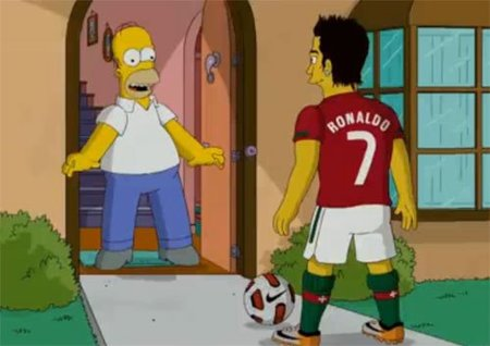 Cristiano Ronaldo le mete un gol a Homer Simpson