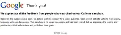 Caffeine empezará a propagarse por los datacenters de Google muy pronto