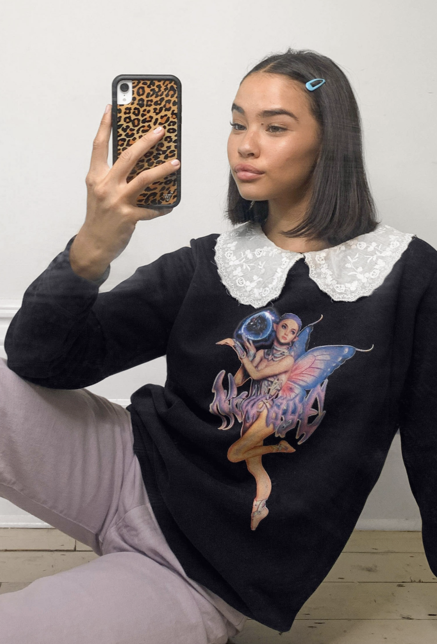Sudadera extragrande con cuello extragrande de encaje y gráfico de hada de New Girl Order