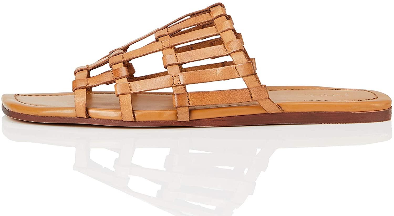 Marca Amazon - find. Lattice Leather - Sandalias de Punta Descubierta Mujer