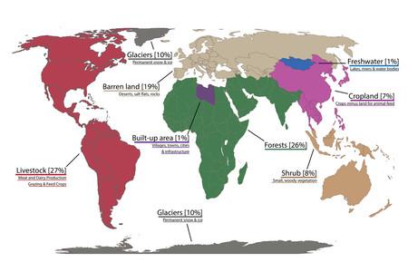 ¿Cuánto ocupan los cultivos, las ciudades y los bosques sobre la Tierra? Este mapa lo ilustra