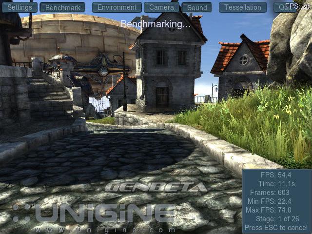 Unigine Heaven DX11 benchmark, ejecutando prueba básica