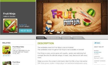 google android market web store fruit ninja aplicación