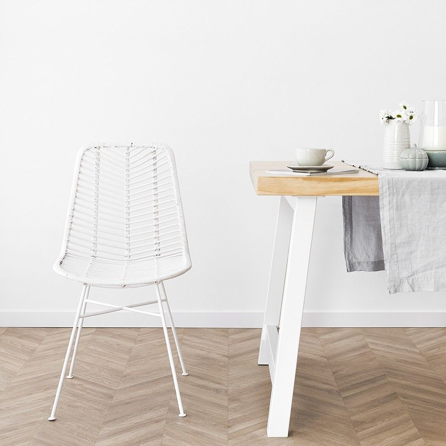 Cali silla ratán blanco patas blancas