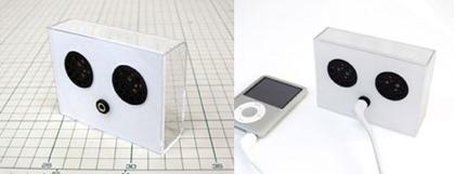 Altavoces con la caja del iPod nano