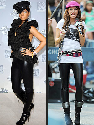 Leggins de latex: ¿Miley Cyrus o Rihanna?