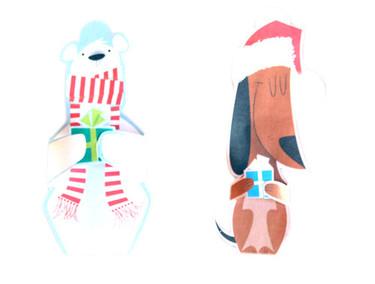 Tarjetas de Navidad con forma de animales